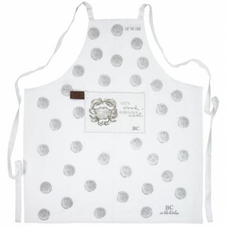 Apron White/L.Grey dots & crab 80x90cm