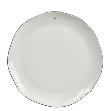 Breakfast Plate White/little heart in grey