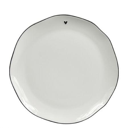 Breakfast Plate White/little heart in black