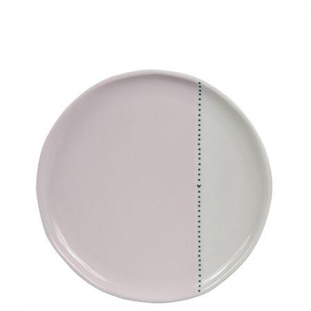 Dessert Plate19cm White/Dots & heart in Black