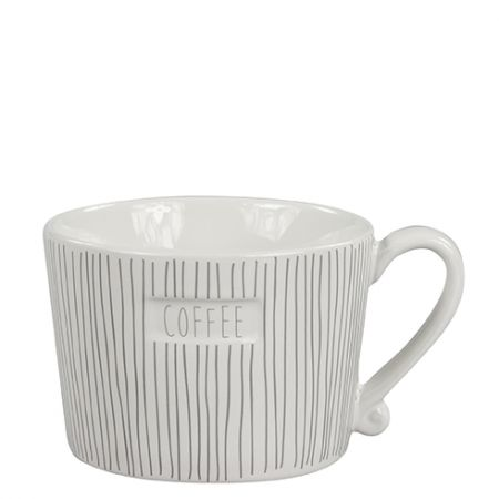 Mug White Stripes & Coffee in Grey 10x8.5x7cm