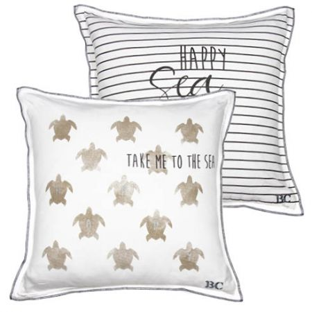 Cushion 50x50 White/Turtle in Titane (with inner filling)