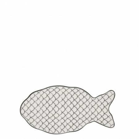 Fish Plate White/ Scales in Black 19x10cm