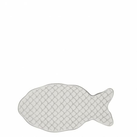 Fish Plate White/ Scales in Grey 19x10cm