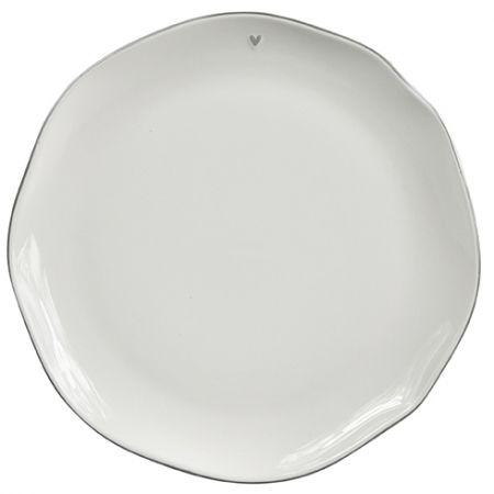 Dinner Plate white/edge grey 27cm