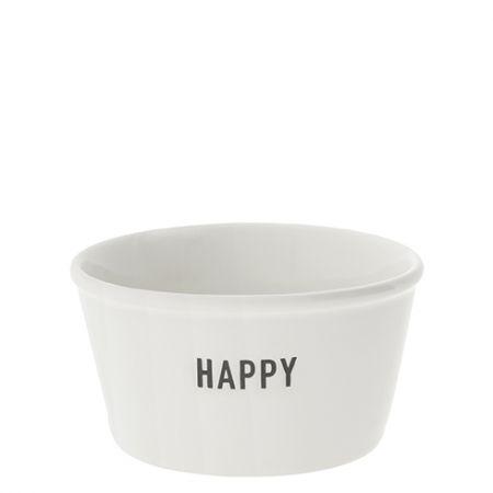 Bowl White Paperlook Happy in Black 7.5x9.5x5cm