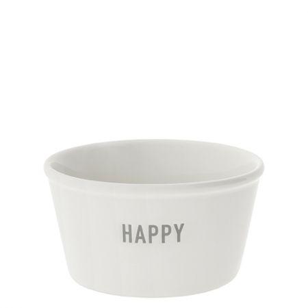 Bowl White Paperlook Happy in Grey 7.5x9.5x5cm