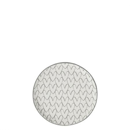 Teatip 9cm White Heart pattern in Grey