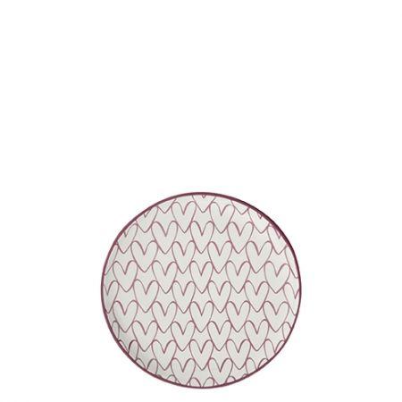 Teatip 9cm White Heart pattern in Red