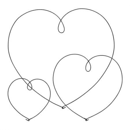 Heart wire Ass(L1x 60cm/M 1x 40cm/S 1x 25cm) black