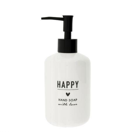 Soap Dispenser white 18x8cm / text in black