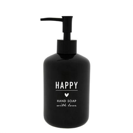 Soap Dispenser black 18x8cm / text in white