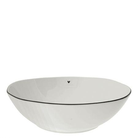 Bowl Salad white w.heart in black 15.5X27x8cm