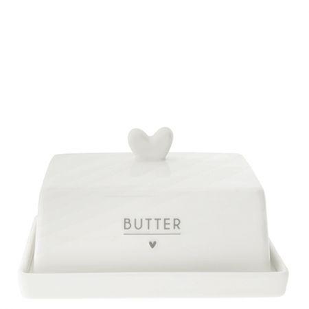 Butter Fleet white/heart in grey 12.2x14.7x8.1cm