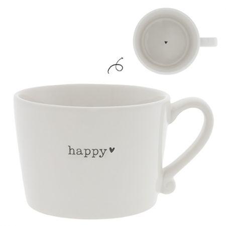Cup White / Happy in Black 10x8x7cm