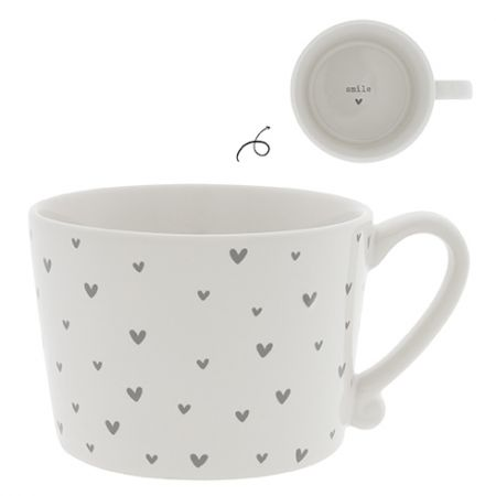 NEW Cup White / little Hearts in Grey 10x8x7cm