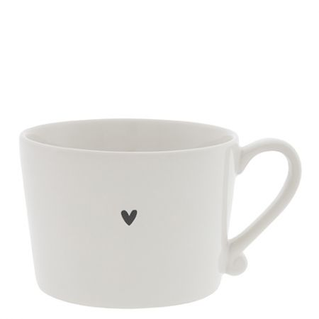 Cup White / little Heart in Black 10x8x7cm