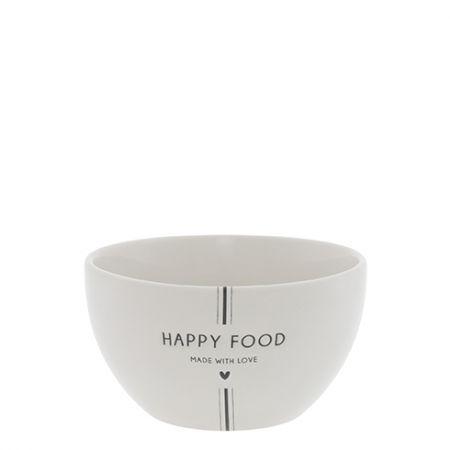 Bowl White/Happy Food in Black Dia 13x7cm