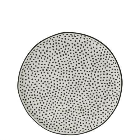 Dessert Plate 19 cm white/little dots in black