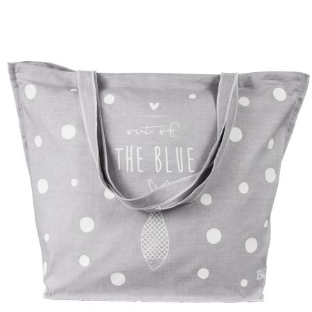 Beachbag Light Grey out of the Blue in White 60x45 cm