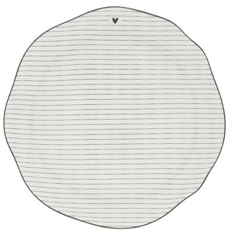 Dinner Plate Stripes White/edge Black 27cm