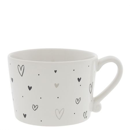 Cup White /Hearts overall Black/Naturel 10x8x7cm