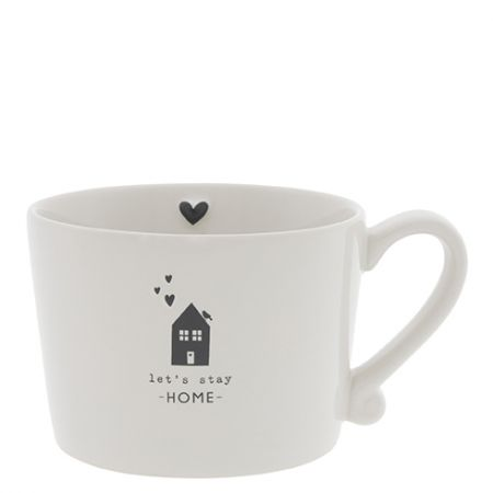 Cup White /let's stay Home in Black 10x8x7 cm