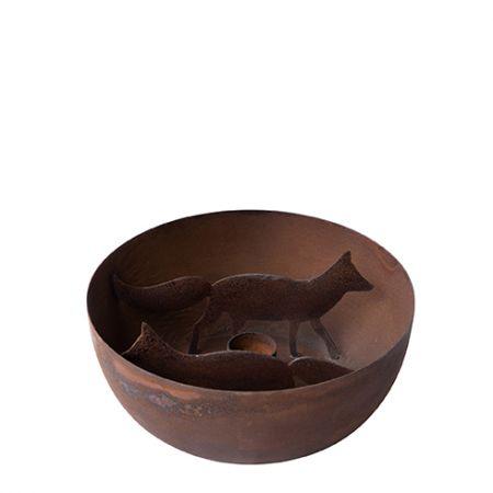 Candle Bowl Fox Brown Antique dia 15.5cm h 6cm