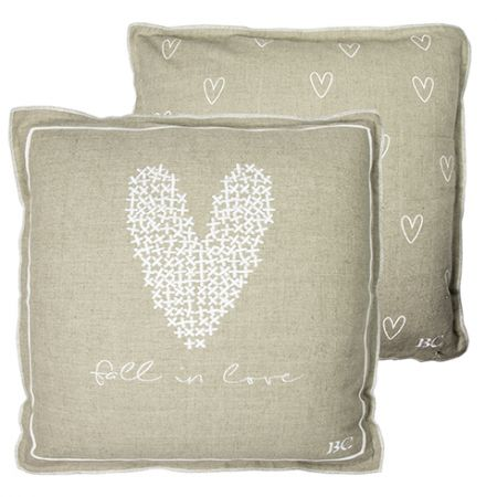 Cushion 50x50 Naturel Heart and fall in love white (with inner filling)