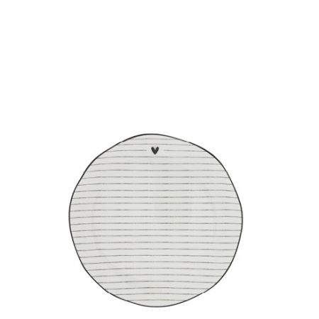 Cake Plate Stripes White/edge Black 16 cm