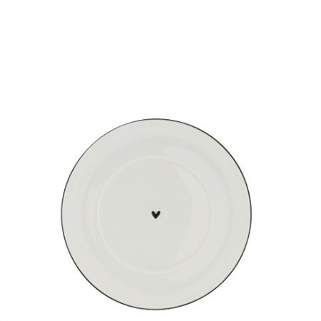 Plate Cup 15cm White/Heart in Black