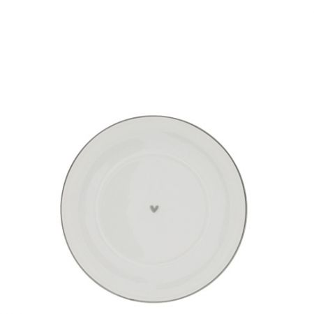 Plate Cup 15cm White/Heart in Grey