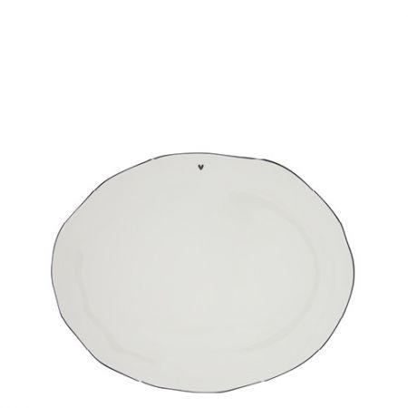 Servingplate White/edge Black 37x30 cm