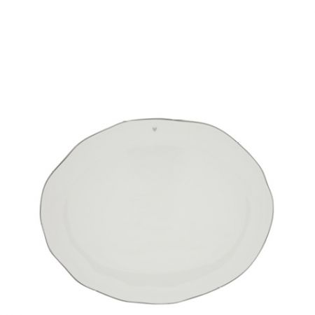 Servingplate White/edge Grey 37x30 cm