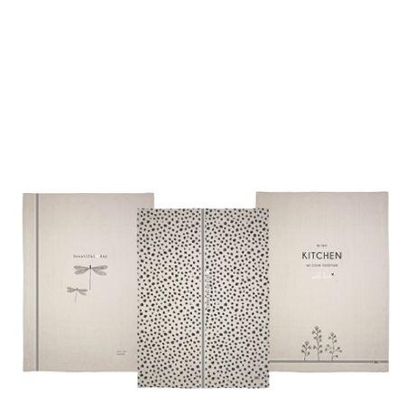 Kitchen Towels 50x70(3x4pcs)Natural Dragon Fly
