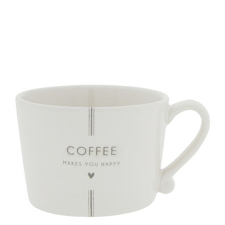 Cup White/Coffee makes you Happy in Grey 10x8x7cm