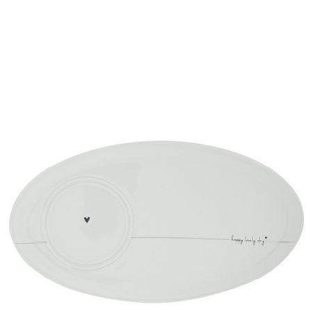 Oval Plate White /Happy Lovely Day 25,5x14,5cm Double function, 2 layers: fits Cup Small & Mug