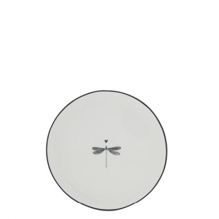 Cake Plate 16cm White/Dragonfly