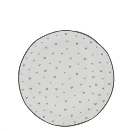 Dessert Plate 19cm little Hearts in Grey