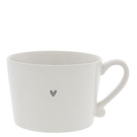 Cup White / little Heart in Grey 10x8x7cm