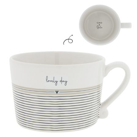Cup White/Stripes Lovely day10x8x7cm