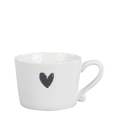 Mug Small White/Heart in Black 8.5x7.2x6cm