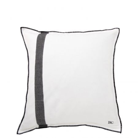 Cushion 50x50 White Chambray + Stripe