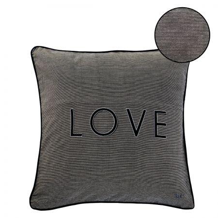Cushion 50x50 Natural/Black Chambray LOVE
