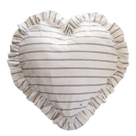 Heart Cushion 83x75 Naturel Stripe Chambray (with inner filling)