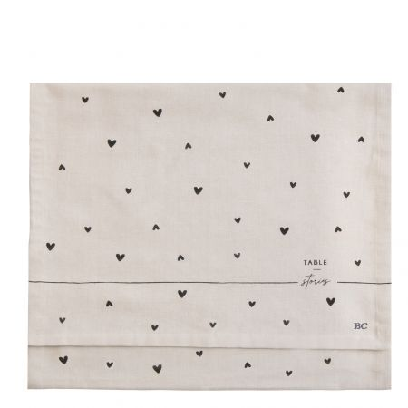 Runner 50x160 cm Natural Chambray/Hearts in Black