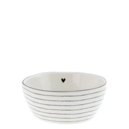 Bowl Sauce with heart/stripes in Black 6.8X9.5X3cm