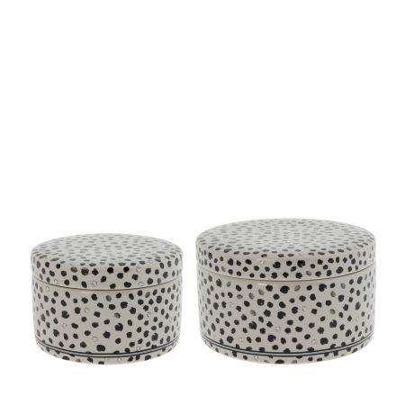 Ceramic box Titane/Confetti Sm + L (2x6) D10+12cm