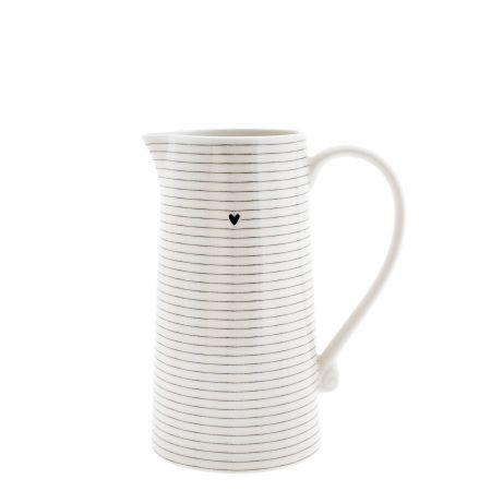 Jug White/Stripes in Black 12x11x22cm