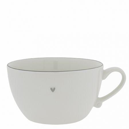 Soup Bowl White /edge Grey dia 15 cm 8,5 cm high